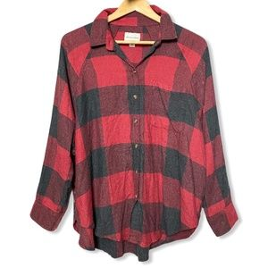AEO Oversized Fit Plaid Long Sleeve Red | Small